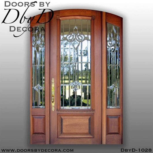 estate door and sidelites with leaded glass