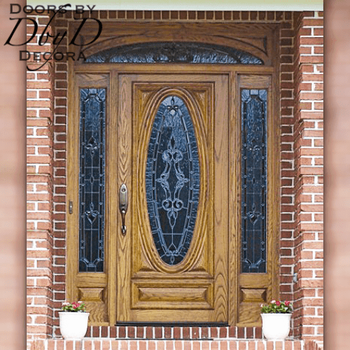 An oak version of our signature oval door and RET transom with leaded glass.