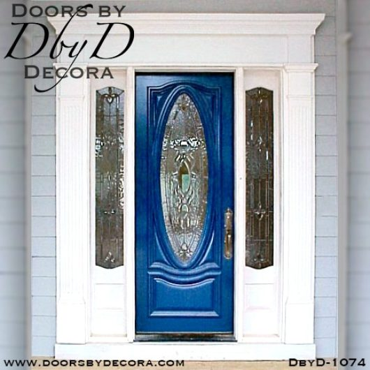 estate painted leaded glass oval door