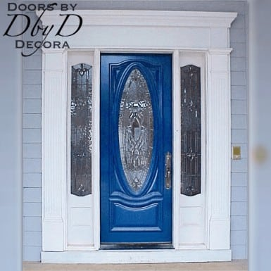 Our signature oval door with two side lites and custom jamb molding.