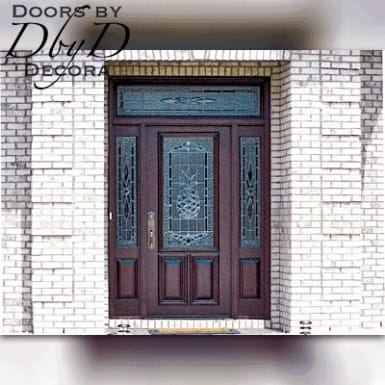 Standard door, two side lites, and transom featuring leaded glass.
