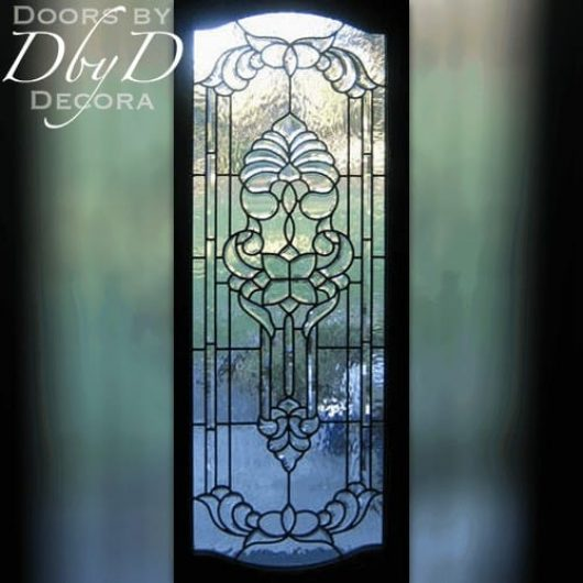 An interior shot of this beautiful door to showcase the custom leaded and beveled glass.