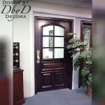 A true divided lite door with beveled glass.