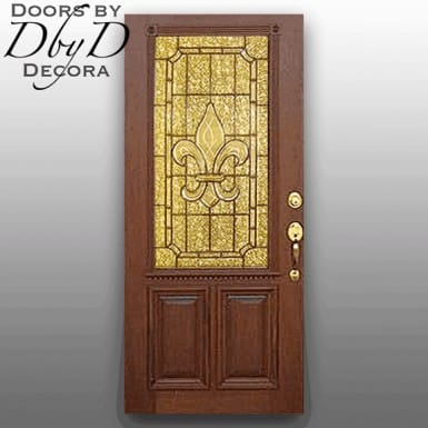 Standard door with leaded glass and custom molding on the exterior.