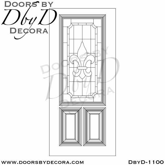 estate 3/4 lite leaded glass door