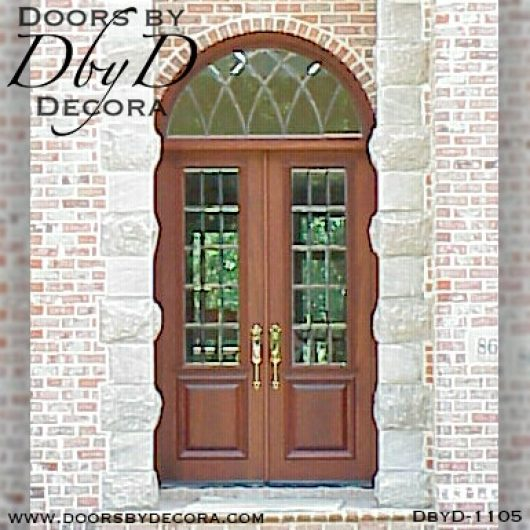 estate leaded glass doors with transom