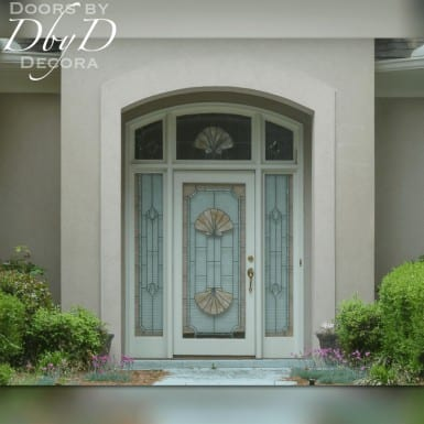 A standard front entrance unit featuring custom leaded glass seashell design.
