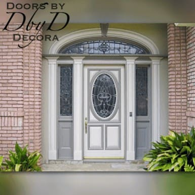 Our standard oval door with two side lites, an elliptical transom, and custom molding around the jamb.