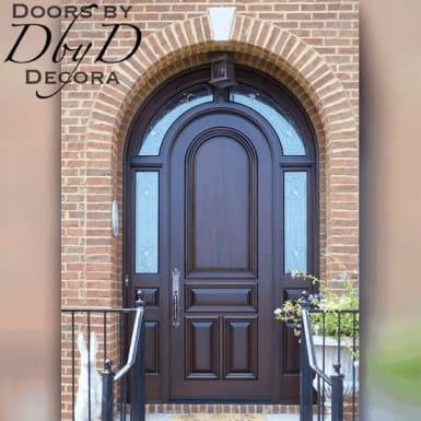 A beautiful radius top door with a wrap around transom.