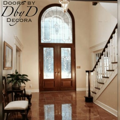 An interior shot of the double doors and extended leg transom.