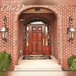 Our standard six panel door with leaded beveled glass in the side lites and elliptical transom.
