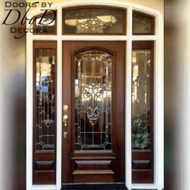 A beautiful stained unit with leaded glass inside a painted jamb.