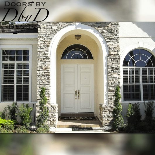 A simple pair of solid double doors.