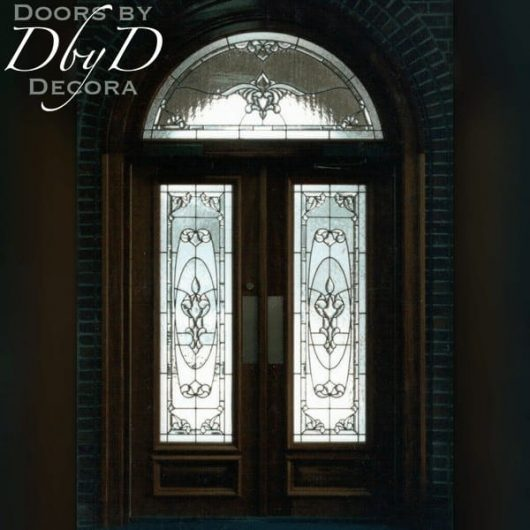 An inside shot of these double doors and transom to showcase the leaded glass.