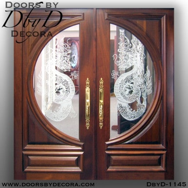 estate etched dragon double doors