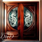A pair of double doors with custom etched glass.