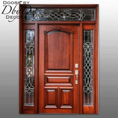 A beautiful solid door with custom leaded glass.