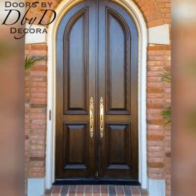 A tall and skinny pair of double radius top doors.