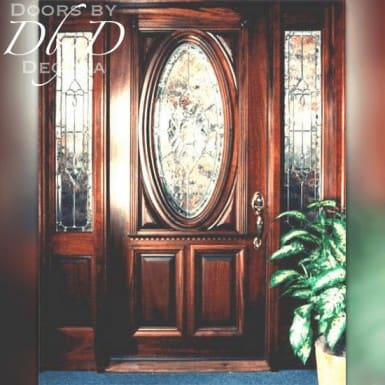 Our standard oval door shown with two side lites.