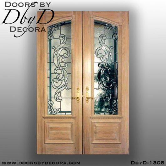 estate front door with leaded glass