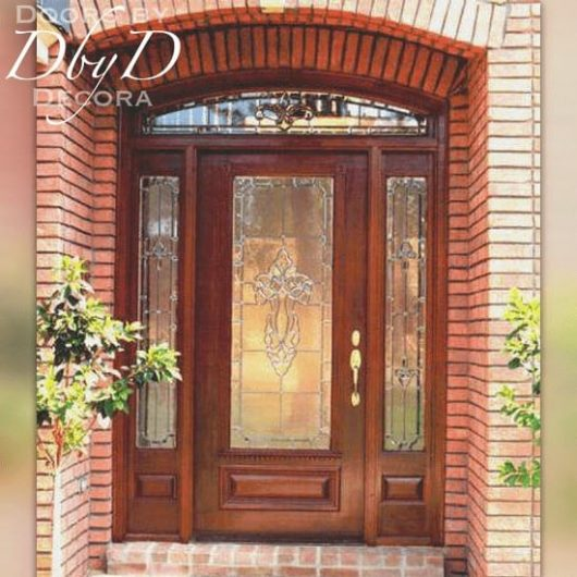 A standard door, two side lites, and transom shown with leaded glass.