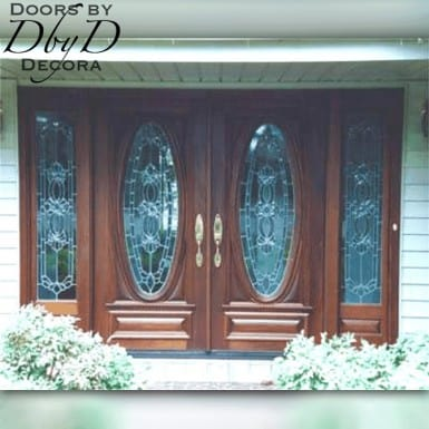 A pair of our signature oval doors shown with two side lites.