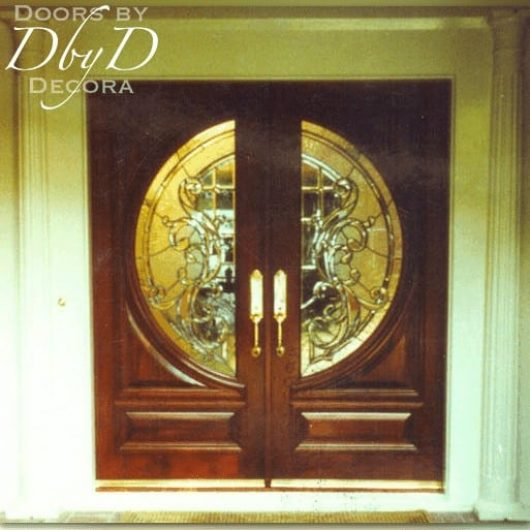 This pair of double doors features leaded glass that forms a circle when both doors are shut.