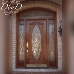Our signature oval door shown with side lites and a custom transom.