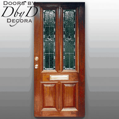 This door is shown with a oversized rail to accommodate a mail slot.