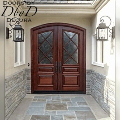 A unique take on a traditional true divided light set of doors.