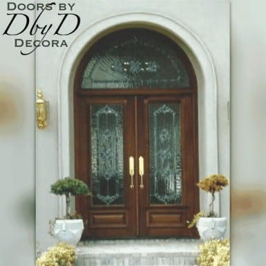 Double doors with a radius transom all shown with leaded glass.