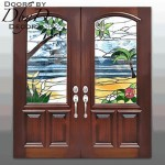 A pair of double doors with custom designed stained glass windows.