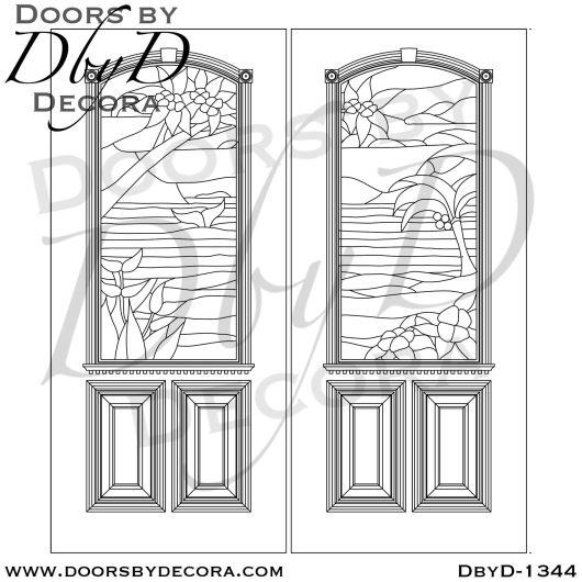 estate beach scene leaded glass doors