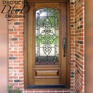 Single rectangular door with beautiful leaded glass.