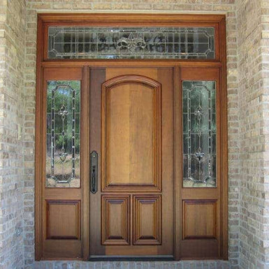 A simple yet elegant door, two side lites, and a transom.