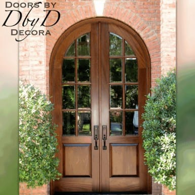A beautiful pair of radius top double doors with true divided lites and beveled glass.