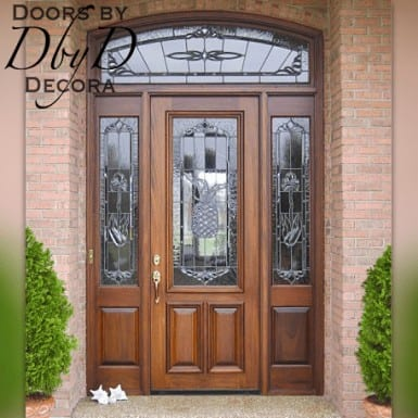 Estate style door with leaded glass and matching transom and side lites.