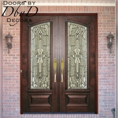 Double doors with beveled and textured leaded glass.