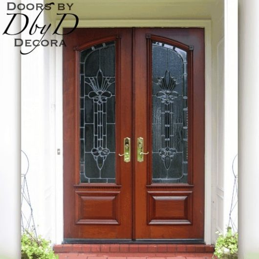 Double doors with leaded glass.