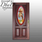 Our signautre oval door with custom stained glass mushroom design.