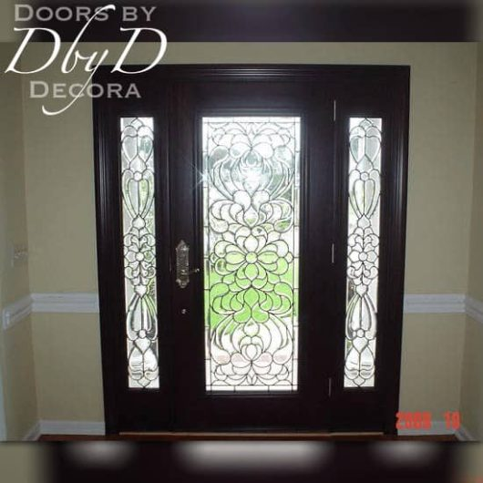 A interior shot of a full lite door and side lites with leaded beveled glass.