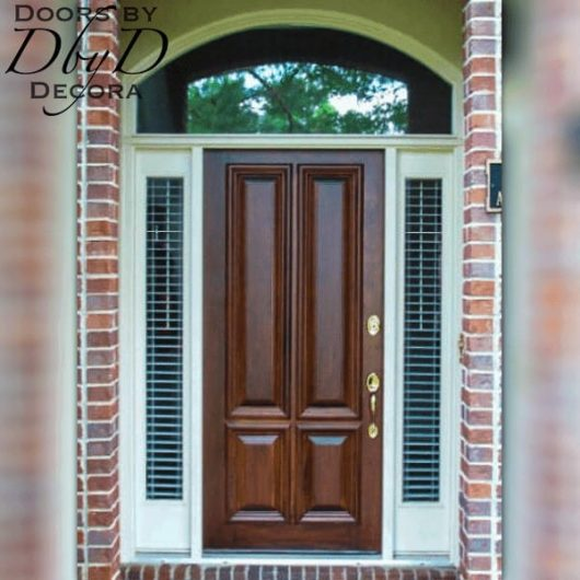 A traditional four panel solid wood door.