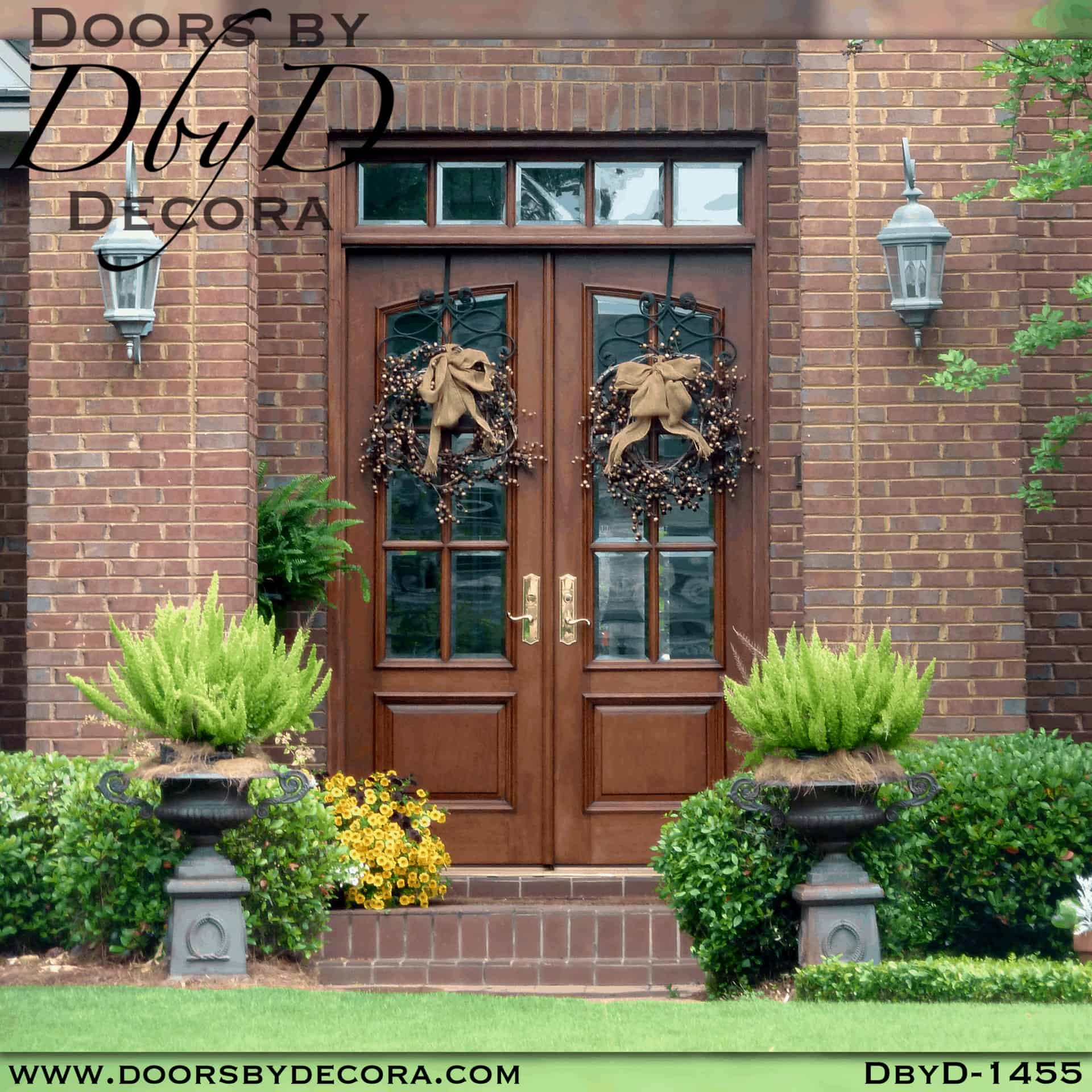 Doors by Decora Estate Collection Custom Wood Double Entry Doors 6-Lite transom windows