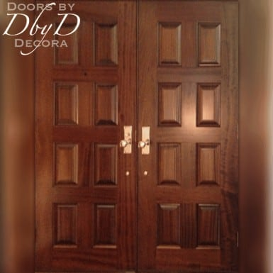 The after photo of the double doors used to replace the customer's old door and two side lites.