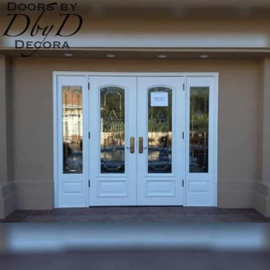 A double door unit with two matching side lites.