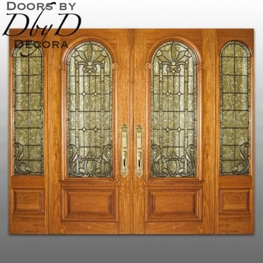 This pair of double doors and their matching side lites feature leaded beveled glass.
