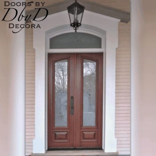 A close-up shot of the custom doors featuring frosted glass.