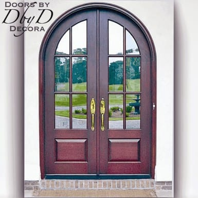 A pair of double radius top doors featuring true divided lites.