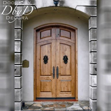 This beautiful set of country french style doors features a rabbited transom and custom decorative hardware.