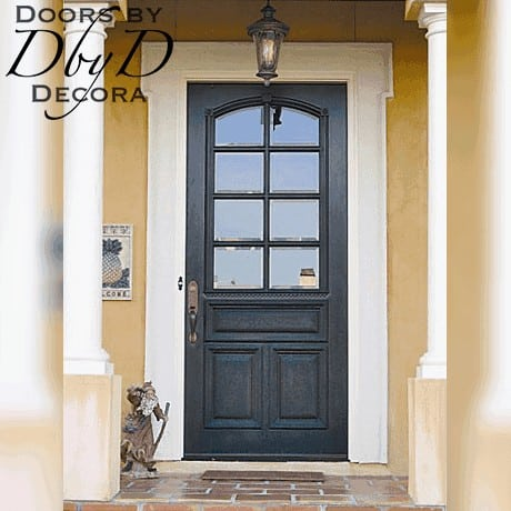 A close-up look at this country french style door featuring true divided lites and beveled glass.